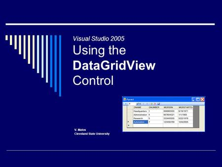 Visual Studio 2005 Using the DataGridView Control V. Matos Cleveland State University.