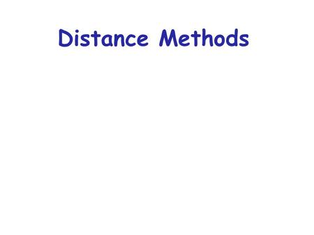 Distance Methods. Distance Estimates attempt to estimate the mean number of changes per site since 2 species (sequences) split from each other Simply.