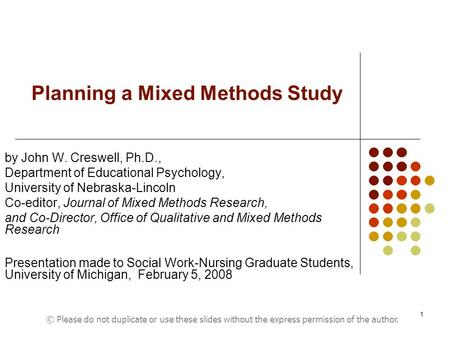 Planning a Mixed <strong>Methods</strong> Study