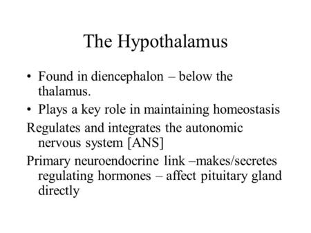 The Hypothalamus Found in diencephalon – below the thalamus. Plays a key role in maintaining homeostasis Regulates and integrates the autonomic nervous.