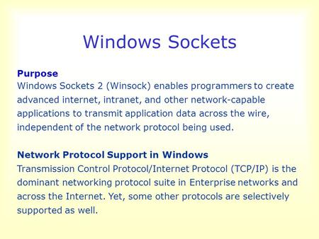 Windows Sockets Purpose Windows Sockets 2 (Winsock) enables programmers to create advanced internet, intranet, and other network-capable applications to.