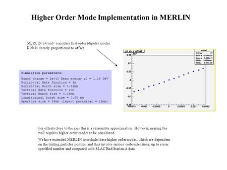 MERLIN 3.0 only considers first order (dipole) modes. Kick is linearly proportional to offset. For offsets close to the axis this is a reasonable approximation.