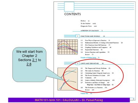 We will start from Chapter 2 Sections 2.1 to 2.8 MATH 101- term 101 : CALCULUS I – Dr. Faisal Fairag.