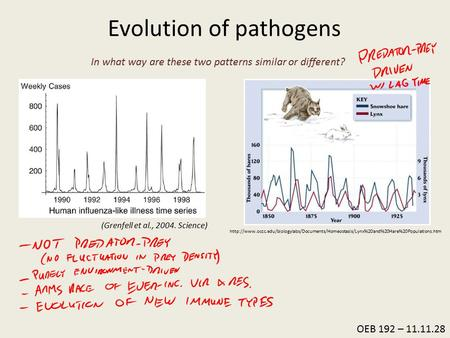 OEB 192 – 11.11.28 Evolution of pathogens (Grenfell et al., 2004. Science)