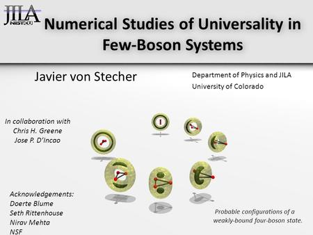 Numerical Studies of Universality in Few-Boson Systems Javier von Stecher Department of Physics and JILA University of Colorado Probable configurations.