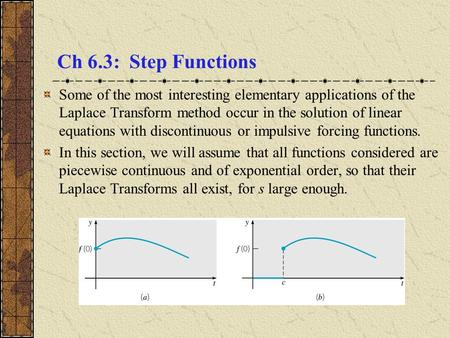 Ch 6.3: Step Functions Some of the most interesting elementary applications of the Laplace Transform method occur in the solution of linear equations.