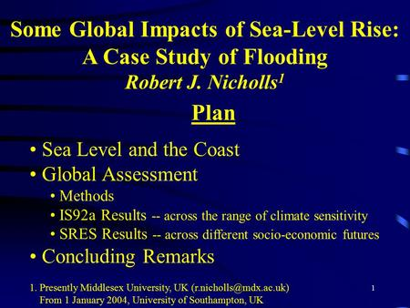 Some Global Impacts of Sea-Level Rise: A Case Study of Flooding