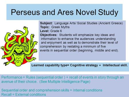 Perseus and Ares Novel Study Subject: Language Arts/ Social Studies (Ancient Greece) Topic: Greek Myths Level: Grade 6 Objectives: Students will emphasize.
