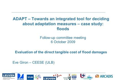 ADAPT – Towards an integrated tool for deciding about adaptation measures – case study: floods Follow-up committee meeting 6 October 2009 Evaluation of.