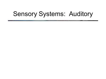 Sensory Systems: Auditory. What do we hear? Sound is a compression wave: When speaker is stationary, the air is uniformly dense Speaker Air Molecules.