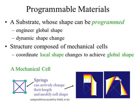 Programmable Materials A Substrate, whose shape can be programmed –engineer global shape –dynamic shape change Structure composed of mechanical cells –coordinate.