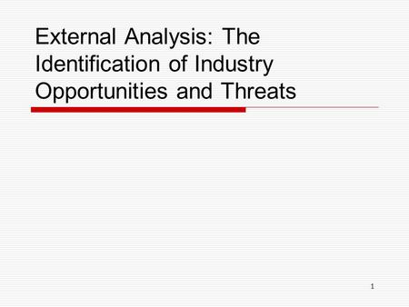 1 External Analysis: The Identification of Industry Opportunities and Threats.
