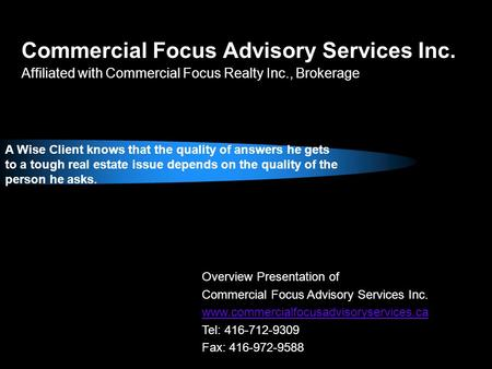 Commercial Focus Advisory Services Inc.