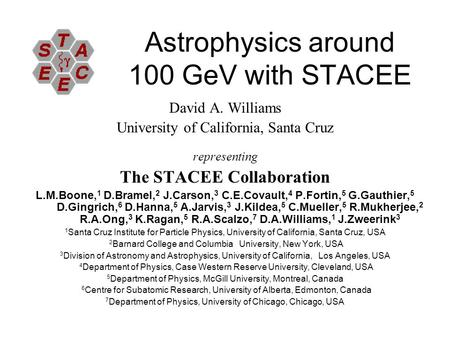 Astrophysics around 100 GeV with STACEE David A. Williams University of California, Santa Cruz representing The STACEE Collaboration L.M.Boone, 1 D.Bramel,