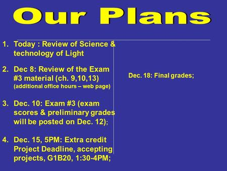 1.Today : Review of Science & technology of Light 2.Dec 8: Review of the Exam #3 material (ch. 9,10,13) (additional office hours – web page) 3.Dec. 10: