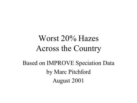 Worst 20% Hazes Across the Country Based on IMPROVE Speciation Data by Marc Pitchford August 2001.