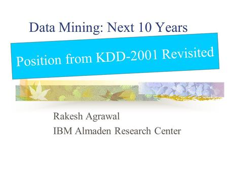 Data Mining: Next 10 Years Rakesh Agrawal IBM Almaden Research Center Position from KDD-2001 Revisited.