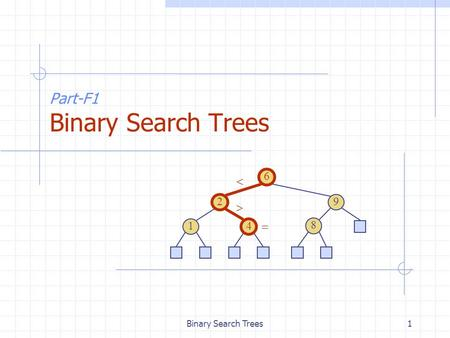 Binary Search Trees1 Part-F1 Binary Search Trees 6 9 2 4 1 8   