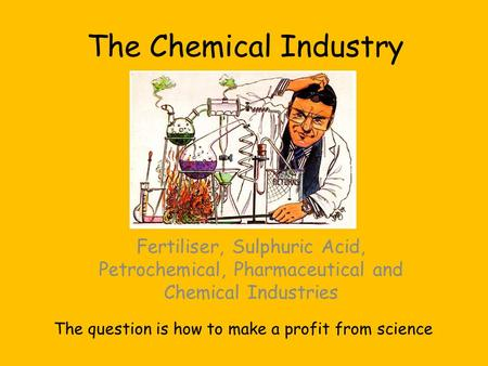 The Chemical Industry Fertiliser, Sulphuric Acid, Petrochemical, Pharmaceutical and Chemical Industries The question is how to make a profit from science.