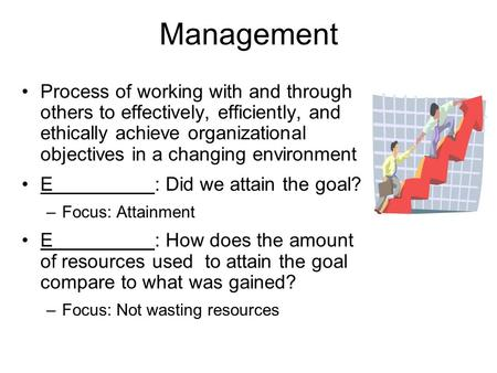 Management Process of working with and through others to effectively, efficiently, and ethically achieve organizational objectives in a changing environment.