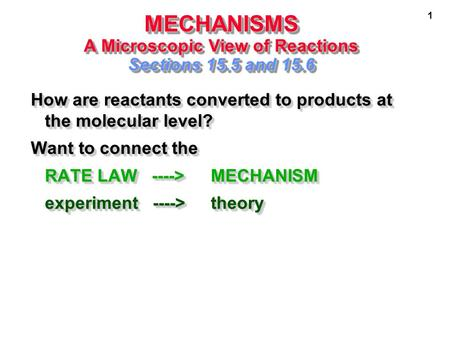 1 MECHANISMS A Microscopic View of Reactions Sections 15.5 and 15.6 How are reactants converted to products at the molecular level? Want to connect the.