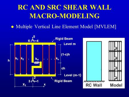 Level (m-1 ) Level m h (1-c)h ch 1 2 3 4 5 6 Rigid Beam x1x1 x k1k1 k2k2 knkn kHkH....... RC AND SRC SHEAR WALL MACRO-MODELING l Multiple Vertical Line.