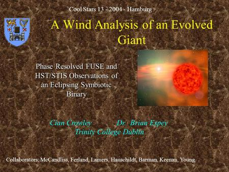 A Wind Analysis of an Evolved Giant Phase Resolved FUSE and HST/STIS Observations of an Eclipsing Symbiotic Binary Cian Crowley Dr. Brian Espey Trinity.