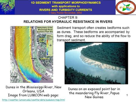 1D SEDIMENT TRANSPORT MORPHODYNAMICS with applications to RIVERS AND TURBIDITY CURRENTS © Gary Parker November, 2004 1 CHAPTER 9: RELATIONS FOR HYDRAULIC.