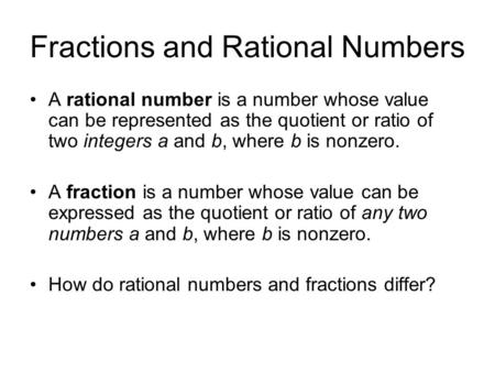 Fractions and Rational Numbers
