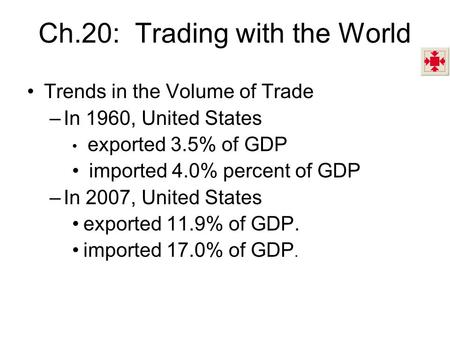 Ch.20: Trading with the World Trends in the Volume of Trade –In 1960, United States exported 3.5% of GDP imported 4.0% percent of GDP –In 2007, United.