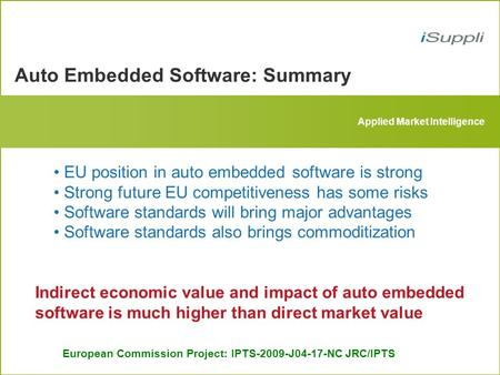 Auto Embedded Software: Summary