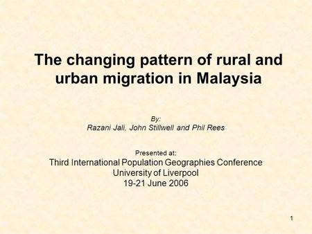 The changing pattern of rural and urban migration in Malaysia