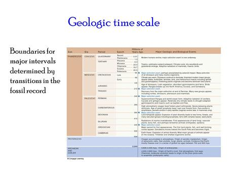 Geologic time scale Boundaries for major intervals determined by transitions in the fossil record.