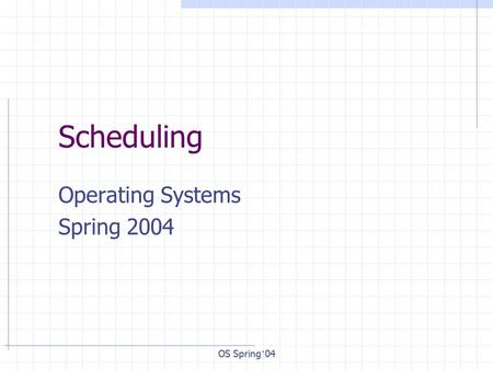 OS Spring ' 04 Scheduling Operating Systems Spring 2004.