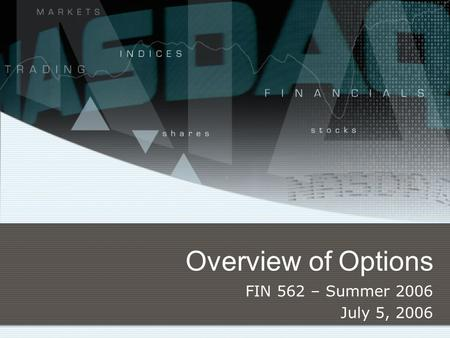Overview of Options FIN 562 – Summer 2006 July 5, 2006.