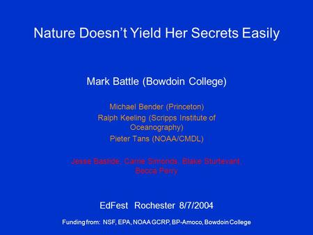 Nature Doesn't Yield Her Secrets Easily Mark Battle (Bowdoin College) Michael Bender (Princeton) Ralph Keeling (Scripps Institute of Oceanography) Pieter.