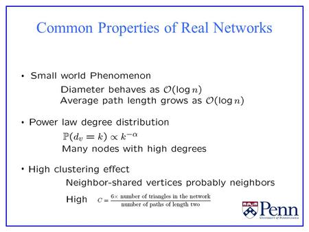 Common Properties of Real Networks. Erdős-Rényi Random Graphs.