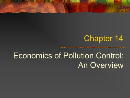 Economics of Pollution Control: An Overview