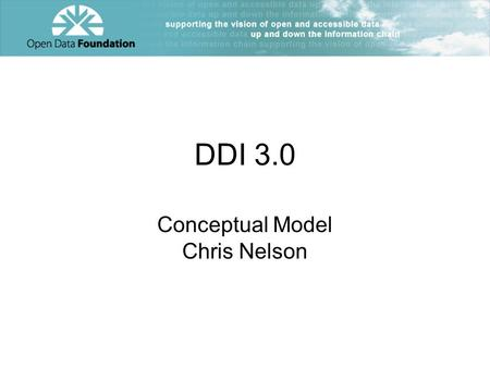 DDI 3.0 Conceptual Model Chris Nelson. Why Have a Model Non syntactic representation of the business domain Useful for identifying common constructs –Identification,