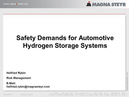 18.08.2005Helfried Rybin 1 www.magnasteyr.com AUTOMOBILENTWICKLUNG / ENGINEERING Safety Demands for Automotive Hydrogen Storage Systems Helfried Rybin.