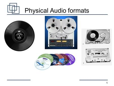 1 Physical Audio formats. 2 Digital Audio Formats Uncompressed (WAV)‏ Lossless compression (lossless WMA, FLAC)‏ Lossy compression (mp3, lossy WMA, AAC)‏
