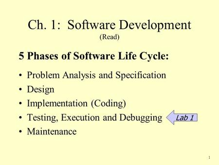 Ch. 1: Software Development (Read) 5 Phases of Software Life Cycle: Problem Analysis and Specification Design Implementation (Coding) Testing, Execution.