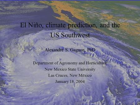 El Niño, climate prediction, and the US Southwest