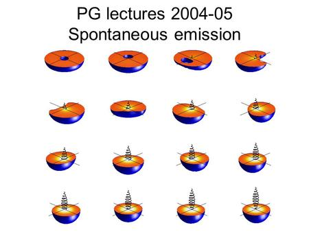 PG lectures 2004-05 Spontaneous emission. Outline Lectures 1-2 Introduction What is it? Why does it happen? Deriving the A coefficient. Full quantum description.