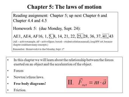 Chapter 5: The laws of motion