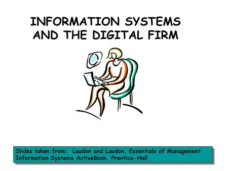INFORMATION SYSTEMS AND THE DIGITAL FIRM Slides taken from: Laudon and Laudon, Essentials of Management Information Systems ActiveBook. Prentice-Hall.