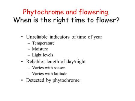 Phytochrome and flowering. When is the right time to flower? Unreliable indicators of time of year –Temperature –Moisture –Light levels Reliable: length.