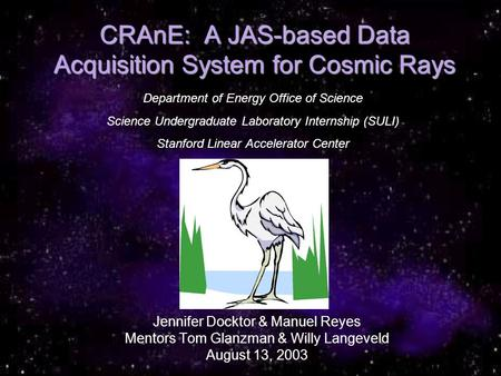CRAnE: A JAS-based Data Acquisition System for Cosmic Rays Jennifer Docktor & Manuel Reyes Mentors Tom Glanzman & Willy Langeveld August 13, 2003 Department.
