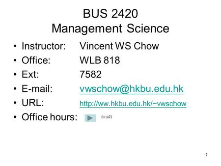 BUS 2420 Management Science