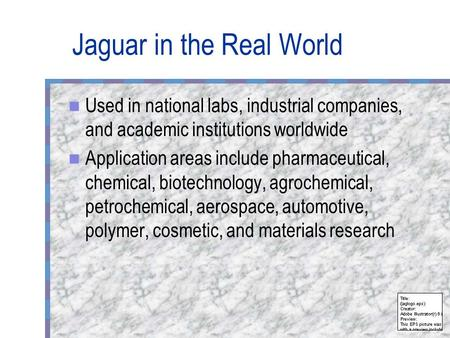Jaguar in the Real World Used in national labs, industrial companies, and academic institutions worldwide Application areas include pharmaceutical, chemical,